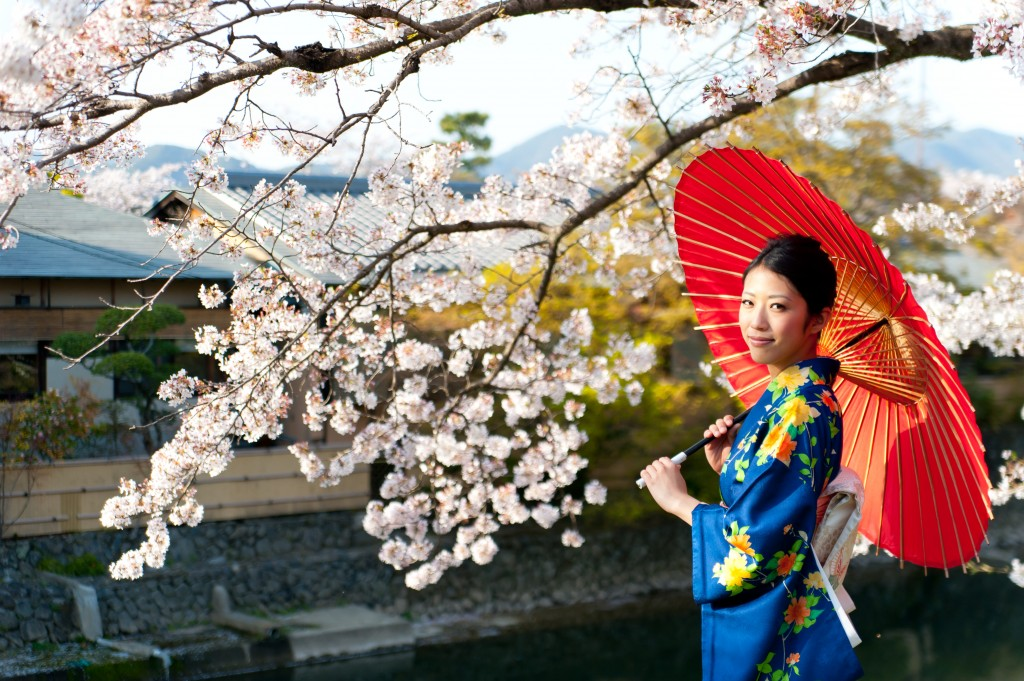 japanese kimono woman and traditional red umbrella
